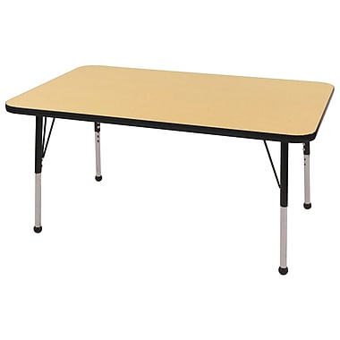 "24""x60"" Rectangular T-Mold Activity Table, Maple/Black/Standard Ball"