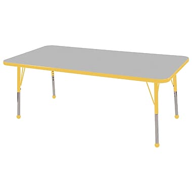 "24""x60"" Rectangular T-Mold Activity Table, Grey/Yellow/Toddler Ball"
