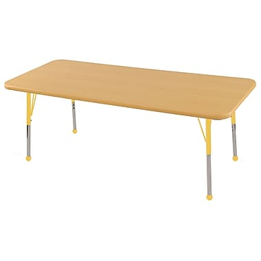 "24""x72"" Rectangular T-Mold Activity Table, Maple/Maple/Yellow/Toddler Ball"