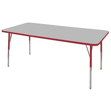 "24""x60"" Rectangular T-Mold Activity Table, Grey/Red/Standard Swivel"