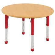 "ECR4Kids® 48"" Round Activity Table With Chunky legs & Standard Glide, Maple/Maple/Red"
