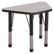 """ECR4Kids® 18"""" x 30"""" Trapezoid Activity Table With Chunky legs & Standard Glide, Gray/Black/Black"""