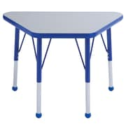 "ECR4Kids® 18"" x 30"" Trapezoid Activity Table With Standard Legs & Ball Glide, Gray/Blue/Blue"