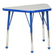 "ECR4Kids® 18"" x 30"" Trapezoid Activity Table With Toddler Legs & Ball Glide, Gray/Blue/Blue"