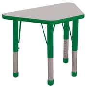 ECR4Kids® 18 x 30 Trapezoid Activity Table With Chunky legs & Standard Glide, Gray/Green/Green