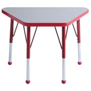 ECR4Kids® 18 x 30 Trapezoid Activity Table With Standard Legs & Ball Glide, Gray/Red/Red