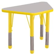 """ECR4Kids® 18"""" x 30"""" Trapezoid Activity Table With Chunky legs & Standard Glide, Gray/Yellow/Yellow"""