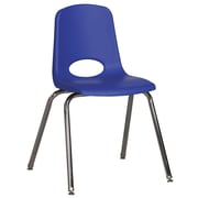 ECR4Kids® 18(H) Plastic Stack Chair With Chrome Legs & Nylon Swivel Glides, Blue