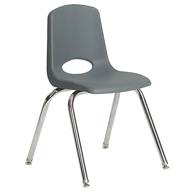 ECR4Kids® 18in.(H) Plastic Stack Chair With Chrome Legs & Nylon Swivel Glides, Gray