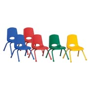 "ECR4Kids® 12""(H) Matching Legs Plastic Stack Chair With Ball Glides, Assorted"