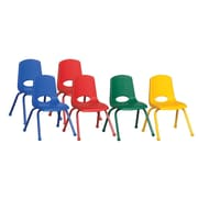 ECR4Kids® 14(H) Matching Legs Plastic Stack Chair With Ball Glides, Assorted