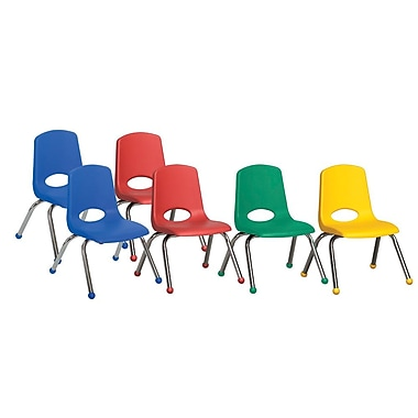 ECR4Kids® 12in.(H) Plastic Stack Chair With Chrome Legs & Ball Glides, Assorted