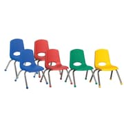 "ECR4Kids® 12""(H) Plastic Stack Chair With Chrome Legs & Ball Glides, Assorted"