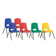 ECR4Kids® 12(H) Plastic Stack Chair With Chrome Legs & Nylon Swivel Glides, Assorted