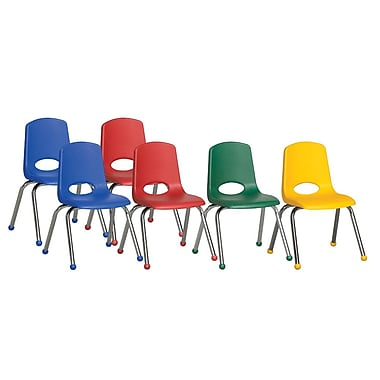 ECR4Kids® 14in.(H) Plastic Stack Chair With Chrome Legs & Ball Glides, Assorted