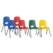 ECR4Kids® 14(H) Plastic Stack Chair With Chrome Legs & Ball Glides, Assorted