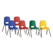 ECR4Kids® 14(H) Plastic Stack Chair With Chrome Legs & Nylon Swivel Glides, Assorted