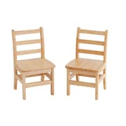 "ECR4Kids® 12""(H) 3 Rung Ladderback Hardwood Chair, Natural Oak, 2/Pack"