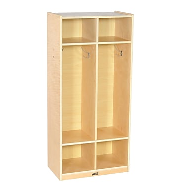 ECR4Kids® 2 Section Birch Straight Coat Locker, Natural