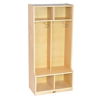 ECR4Kids® 2 Section Birch Coat Locker With Bench, Natural