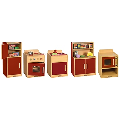 ECR4Kids® Colorful Essentials Play Kitchen Set, Red, 5 Piece