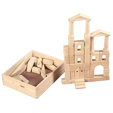 ECR4Kids® Architectural Unit Wood Block Set With Carry Case, 48-Piece