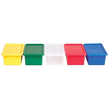 ECR4Kids® Stack and Store Tub With Lid, Assorted, 12 Pieces/Set