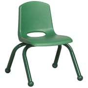 ECR4Kids® 10(H) Matching Legs Plastic Stack Chair With Ball Glides, Green
