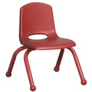 ECR4Kids® 10(H) Matching Legs Plastic Stack Chair With Ball Glides, Red
