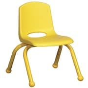 """ECR4Kids® 10""""(H) Matching Legs Plastic Stack Chair With Ball Glides, Yellow"""