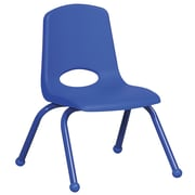ECR4Kids® 12(H) Matching Legs Plastic Stack Chair With Ball Glides, Blue