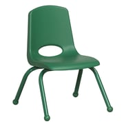 """ECR4Kids® 12""""(H) Matching Legs Plastic Stack Chair With Ball Glides, Green"""