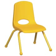 ECR4Kids® 12(H) Matching Legs Plastic Stack Chair With Ball Glides, Yellow