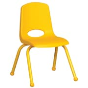 ECR4Kids® 14(H) Matching Legs Plastic Stack Chair With Ball Glides, Yellow