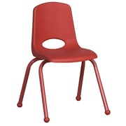 "ECR4Kids® 16""(H) Matching Legs Plastic Stack Chair With Ball Glides, Red"