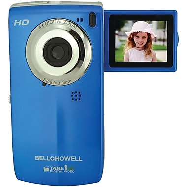 Bell & Howell Take1HD 2GB Digital Video Camcorder W/Flip-Out LCD Screen, 4.2in. x 0.6in. x 2.2in., Blue