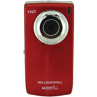 Bell & Howell Take1HD 2GB Digital Video Camcorder W/Flip-Out LCD Screen, 4.2in. x 0.6in. x 2.2in., Red