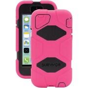 Griffin Survivor Polycarbonate/Silicone Case With Belt Clip For iPhone 5c, Pink/Black