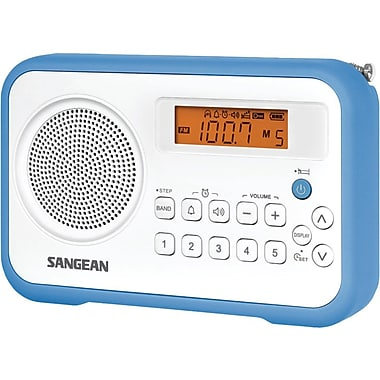 Sangean PR-D18 FM-Stereo/AM Digital Tuning Portable Receiver With Alarm Clock, Blue