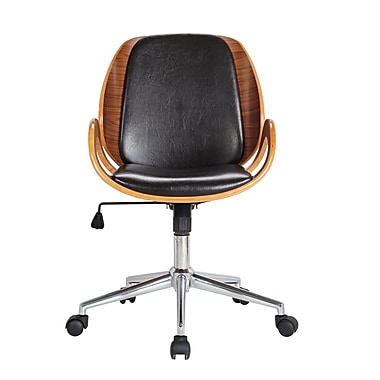 Boraam Mid-Back Vinyl Desk Chair, Fixed Arms, Brown