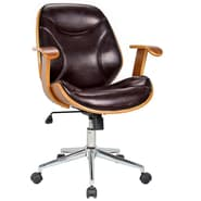 Boraam Bentwood Steel Base Rigdom Desk Chair, Brown