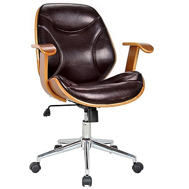 Boraam Rigdom Wood Bankers Office Chair, Fixed Arms, Black (97913)