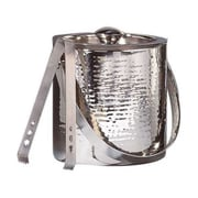Elegance Silver 72607, 6'' Hammered Ice Bucket w/ Tongs