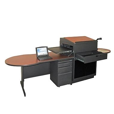 Marvel® Vizion® 72in. x 30in. Laminate Teacher's Desk W/Media Center/Acrylic Door; Cherry