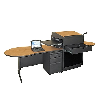 Marvel® Vizion® 72in. x 30in. Laminate Teacher's Desk W/Media Center/Acrylic Door; Oak
