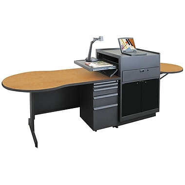 Marvel® Vizion® 72in. x 30in. Laminate Instructors Desk W/Media Center/Acrylic Door; Oak