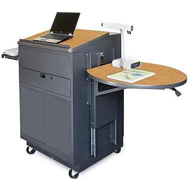 Marvel® Vizion® Dark Neutral Media Center Cart With Lectern and Steel Door, Oak