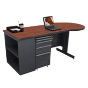 "Marvel® Zapf® 75"" x 30"" Laminate Teachers Conference Desk W/Bookcase; Collectors Cherry"