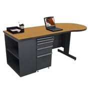 "Marvel® Zapf® 75"" x 30"" Laminate Teachers Conference Desk W/Bookcase; Solar Oak"