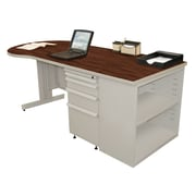 "Marvel® Zapf® Featherstone 75"" x 30"" Laminate Teachers Conference Desk W/Bookcase; Figured"